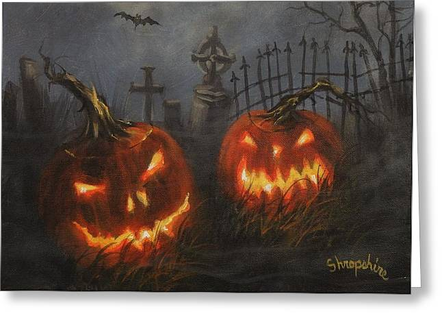Halloween On Cemetery Hill Greeting Card by Tom Shropshire