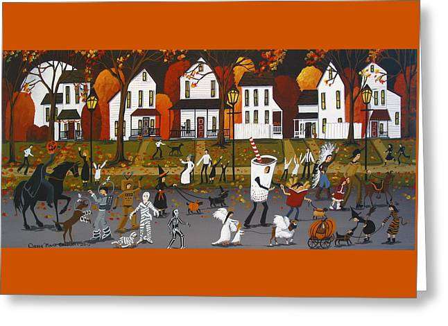 Halloween Parade - Folk Art Greeting Card