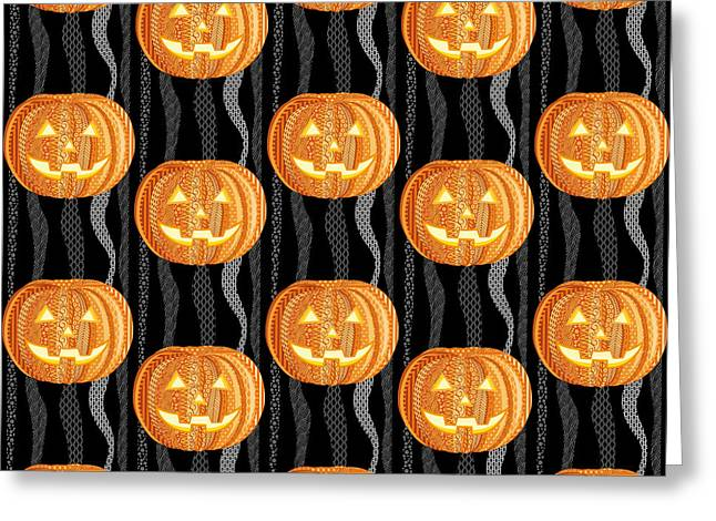 Halloween Pattern Greeting Card by Veronica Kusjen