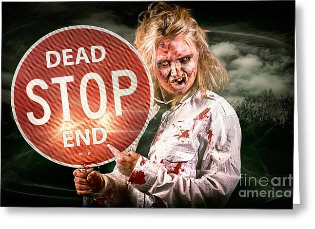 Halloween Portrait. Scary Zombie Holding Stop Sign Greeting Card by Jorgo Photography - Wall Art Gallery