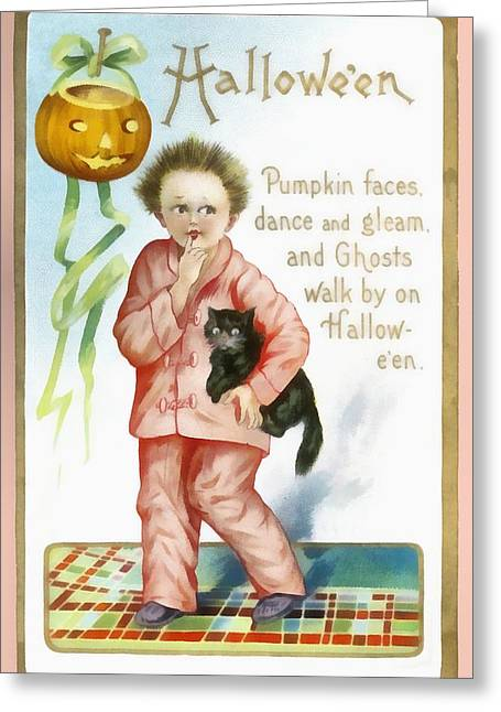 Halloween Pumpkin Faces Greeting Card by Unknown