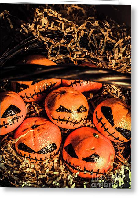 Halloween Pumpkin Head Gathering Greeting Card