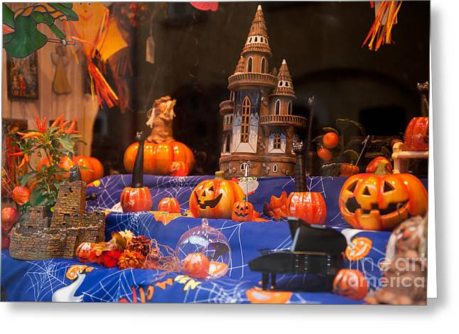 Halloween Scary And Funny Pumpkins Greeting Card