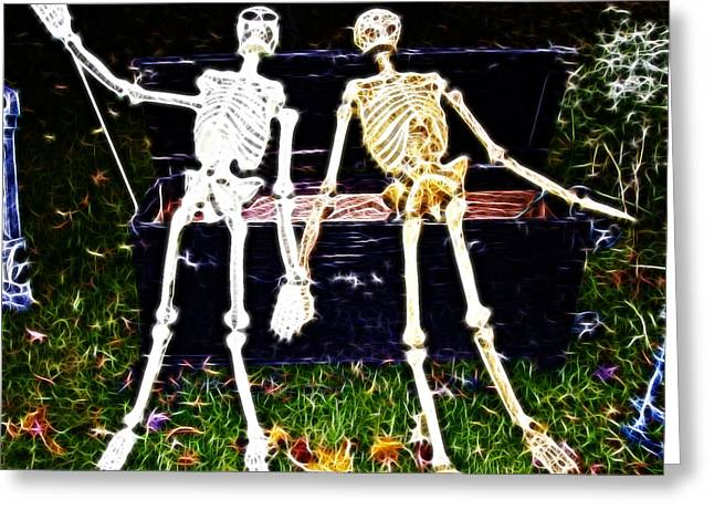 Halloween Skeleton Couple Greeting Card