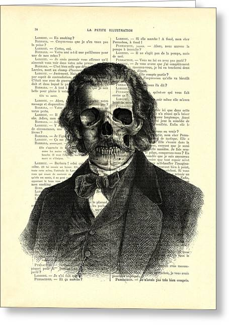 Halloween Skull Portrait In Black And White Greeting Card