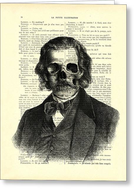Halloween Skull Portrait In Black And White Greeting Card by Madame Memento