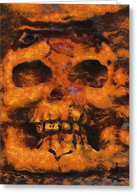 Halloween Skull Greeting Card by Sarah Kirk