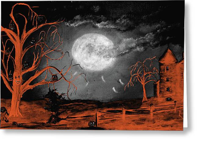 Halloween Tri Color Greeting Card by Ken Figurski
