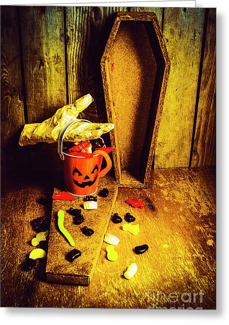 Halloween Trick Of Treats Background Greeting Card