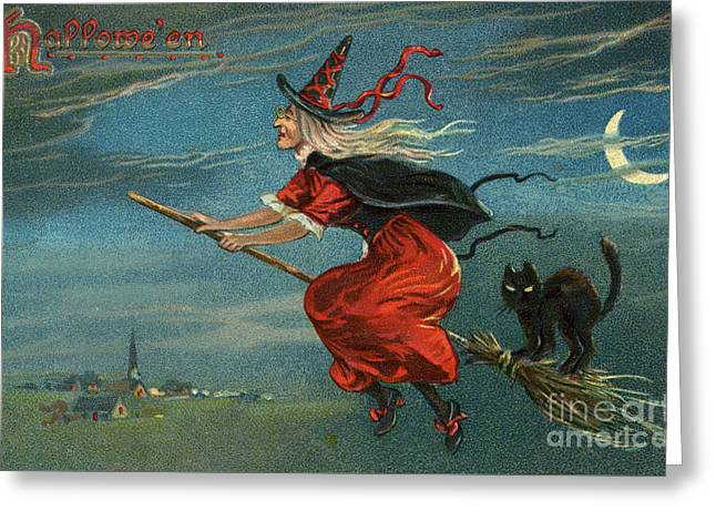 Halloween Witch And Black Cat Riding Broom At Night Greeting Card