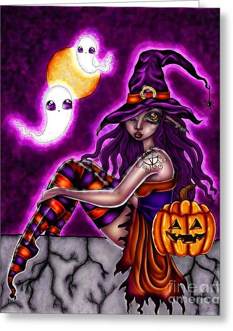 Halloween Witch Greeting Card by Coriander  Shea
