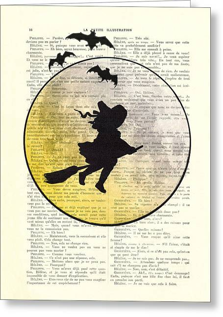 Witch Flying With Full Moon Greeting Card by Madame Memento
