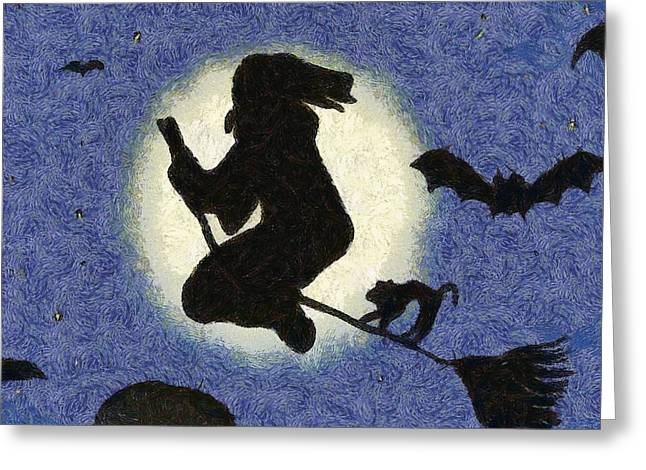 Halloween Witch Greeting Card by Sarah Kirk