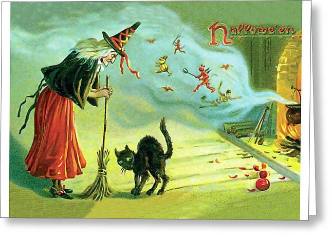 Halloween Witchcraft Greeting Card