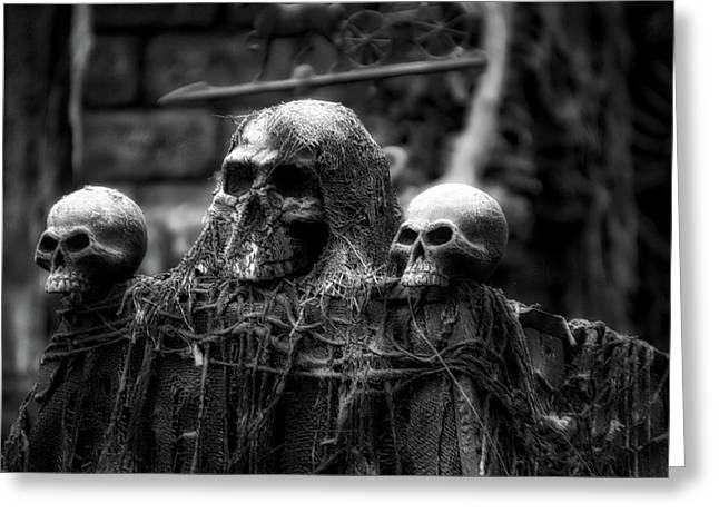 Halloween Zombies The Day After 01 Bw Greeting Card by Thomas Woolworth