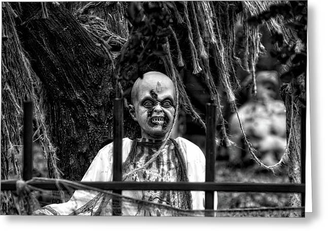 Halloween Zombies The Day After 04 Bw Greeting Card by Thomas Woolworth