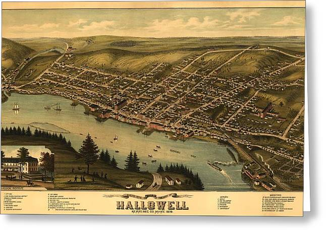Hallowell Maine 1878 Greeting Card by Mountain Dreams
