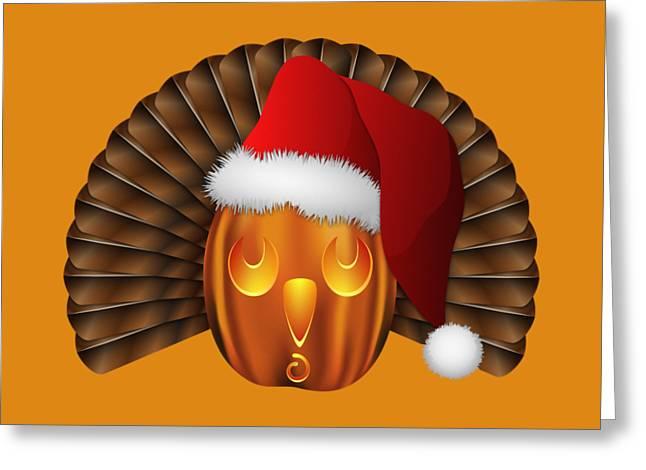 Hallowgivingmas Santa Turkey Pumpkin Greeting Card