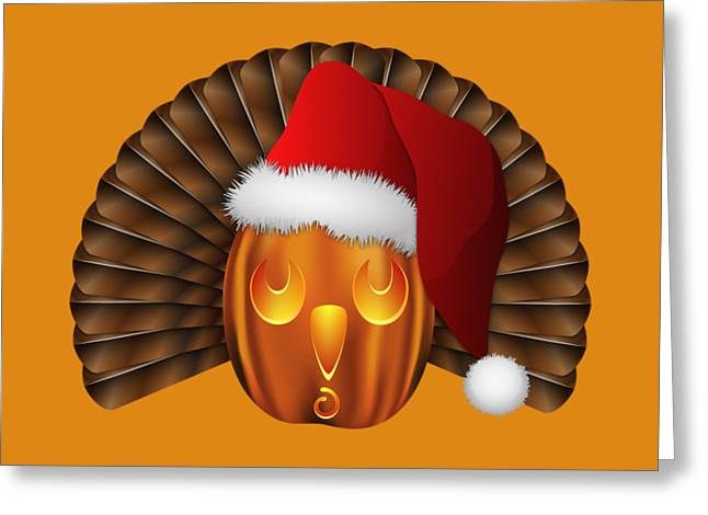 Hallowgivingmas Santa Turkey Pumpkin Greeting Card