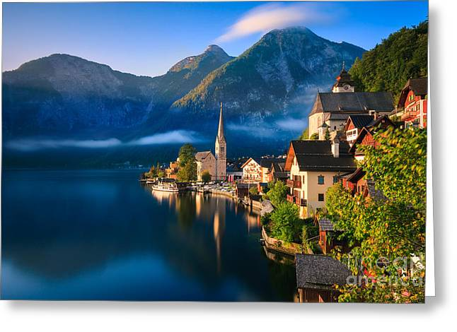 Hallstatt Is A Village In The Salzkammergut, A Region In Austria Greeting Card