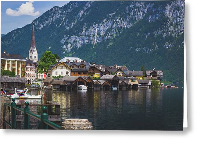 Hallstatt Lakeside Village In Austria Greeting Card
