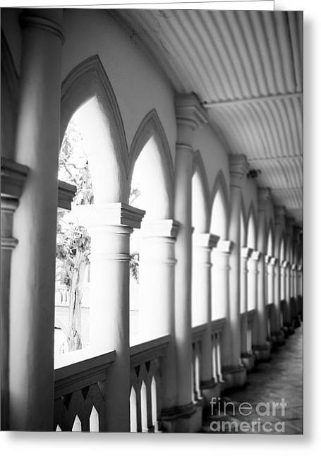 Hallway Black And White Greeting Card by Ivy Ho