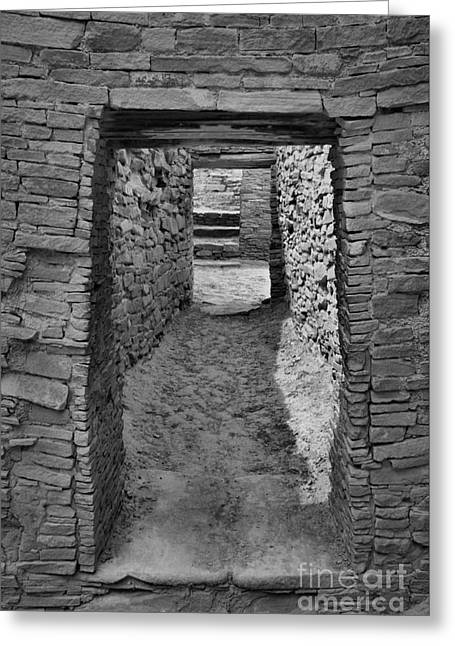 Hallway Of The Ancients - Black And White Greeting Card by Adam Jewell
