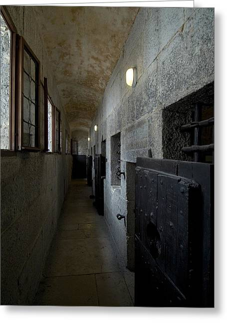 Hallway With Doors To Cells Greeting Card by Todd Gipstein