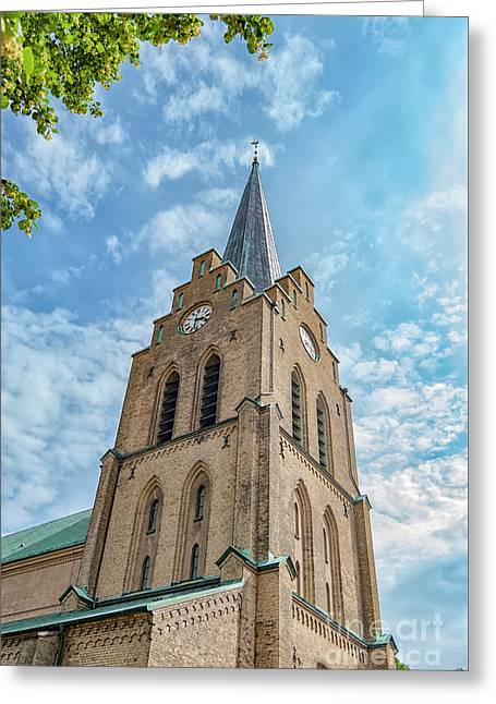 Greeting Card featuring the photograph Halmstad Church In Sweden by Antony McAulay