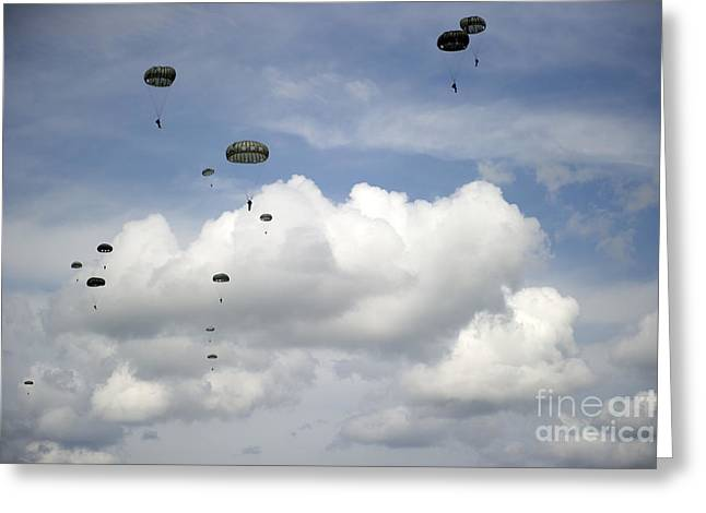 Halo Jumpers Descend To The Ground Greeting Card by Stocktrek Images