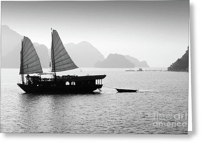 Halong Bay Black And White Greeting Card