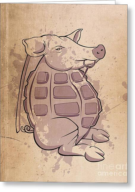 Cartoon Greeting Cards - Ham-grenade Greeting Card by Joe Dragt