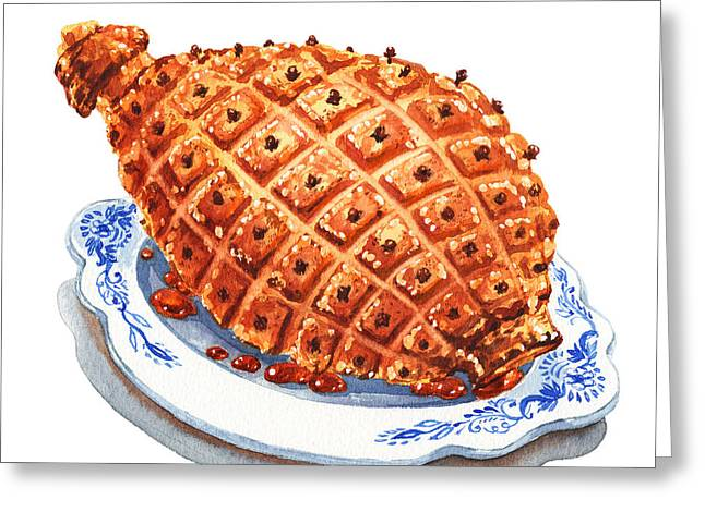 Ham On The Plate Greeting Card