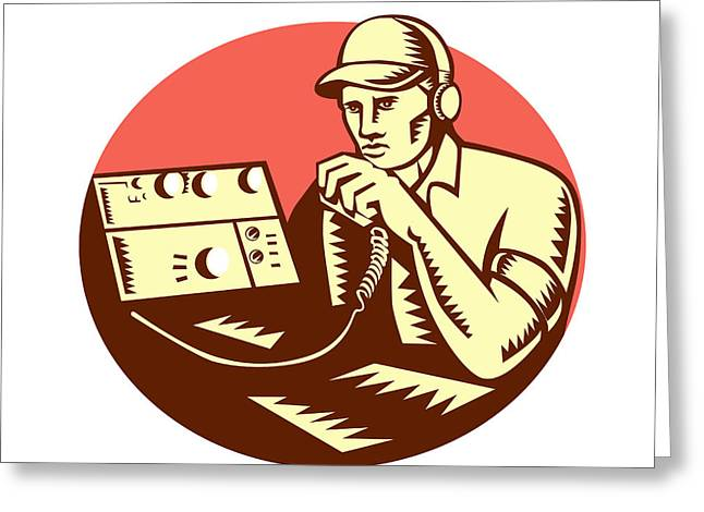 Ham Radio Operator Circle Woodcut Greeting Card by Aloysius Patrimonio