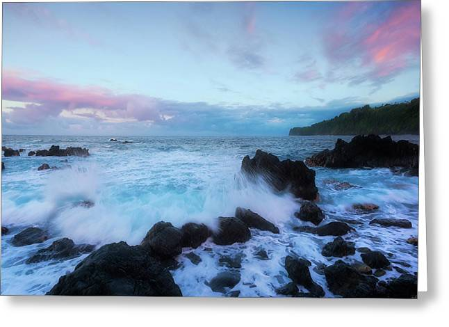 Hamakua Sunset Greeting Card by Ryan Manuel
