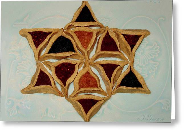 Hamantaschen Star Of David Greeting Card by Brian Tada