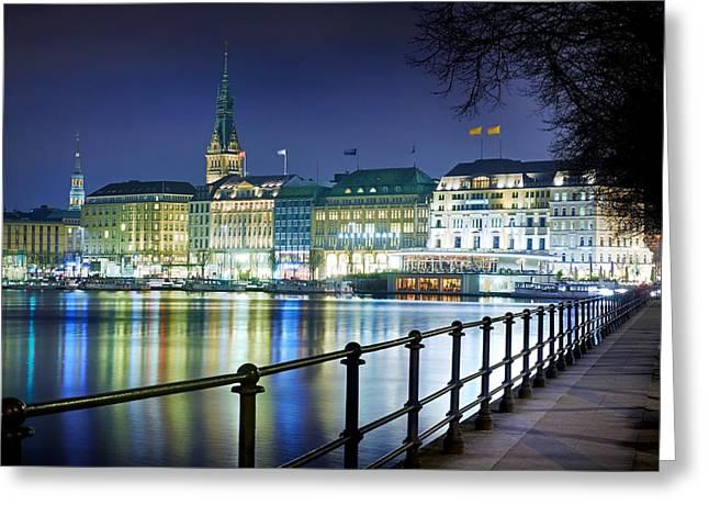 Hamburg At Night Greeting Card