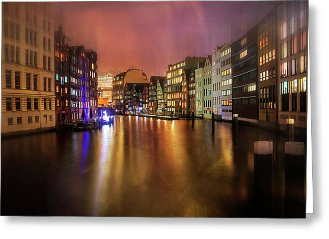Greeting Card featuring the photograph Hamburg By Night  by Carol Japp