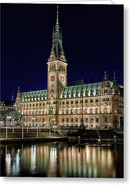 Greeting Card featuring the photograph Hamburg Town Hall At Night by Marc Huebner