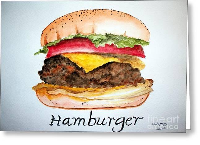 Hamburger 1 Greeting Card by Carol Grimes