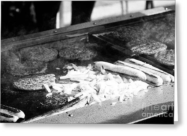 Hamburger And Hot Dog Stall Selling Hot Fast Food At An Outdoor Market Greeting Card