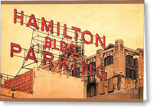 Hamilton Bldg Parking Sign Greeting Card