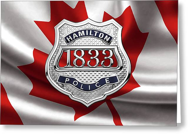 Hamilton Police Service  -  H P S  Commemorative Officer Badge Over Canadian Flag Greeting Card