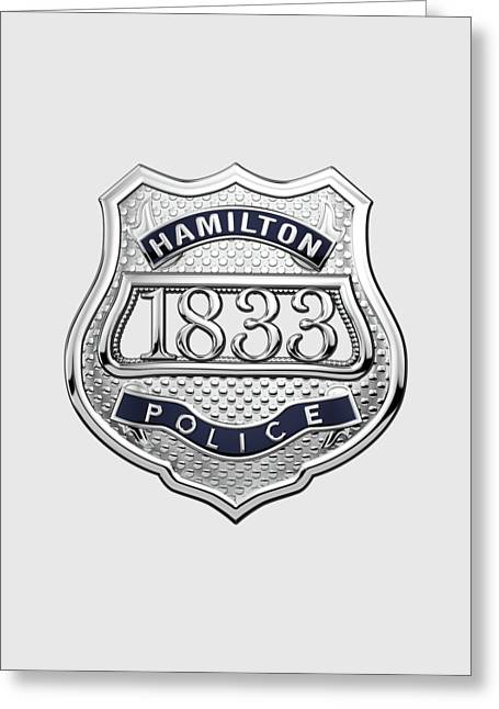 Hamilton Police Service  -  H P S  Commemorative Officer Badge Over White Leather Greeting Card