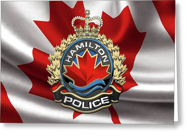 Hamilton Police Service  -  H P S  Emblem Over Canadian Flag Greeting Card