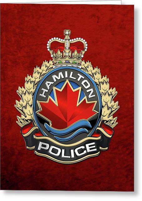Hamilton Police Service  -  H P S  Emblem Over Red Velvet Greeting Card