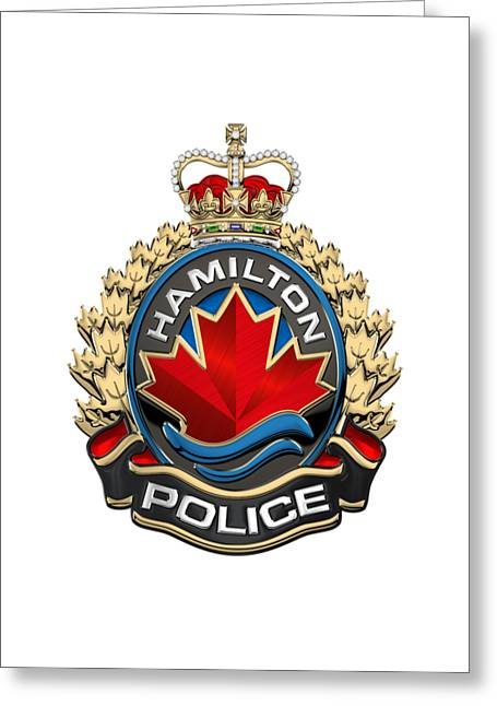 Hamilton Police Service  -  H P S  Emblem Over White Leather Greeting Card