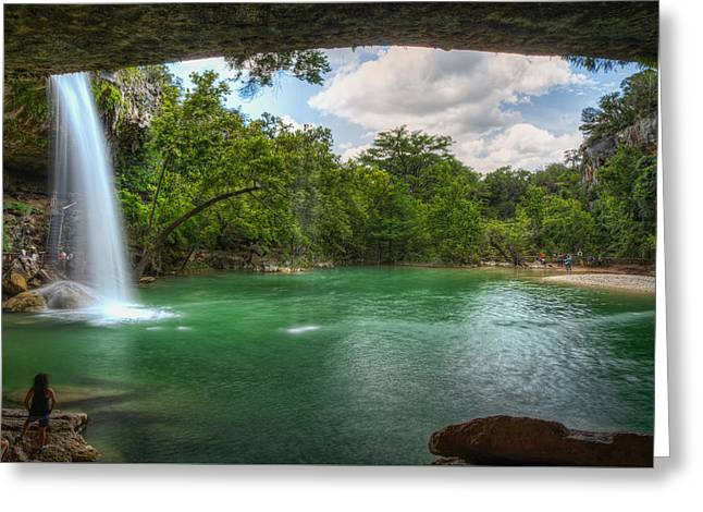 Hamilton Pool Falls Greeting Card by Tom Weisbrook