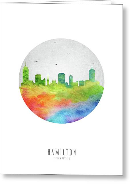 Hamilton Skyline Caonha20 Greeting Card by Aged Pixel