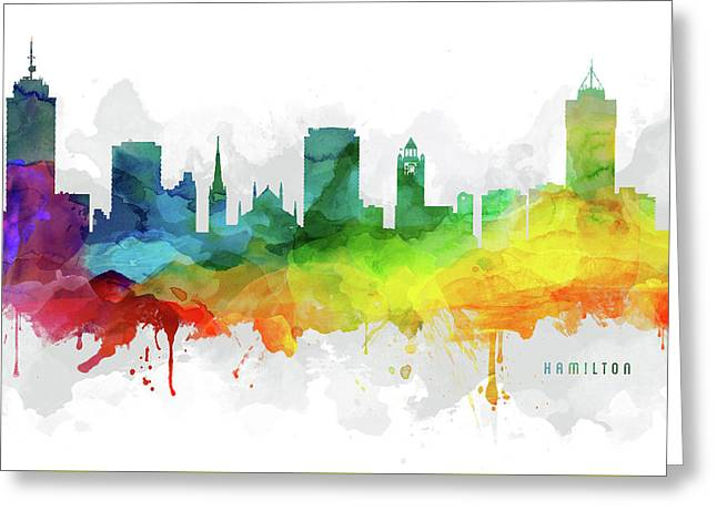 Hamilton Skyline Mmr-caonha05 Greeting Card by Aged Pixel
